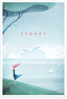 Sydney, Australia vintage travel poster by artist Henry Rivers of Travel Poster Co.