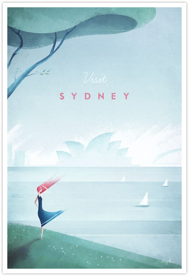 Vintage travel poster Sydney Australia by Henry Rivers of Travel Poster Co.
