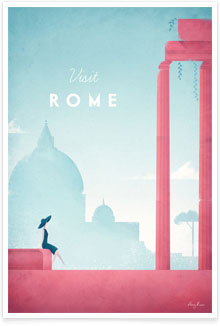 Rome, Italy vintage travel poster by artist Henry Rivers of Travel Poster Co.