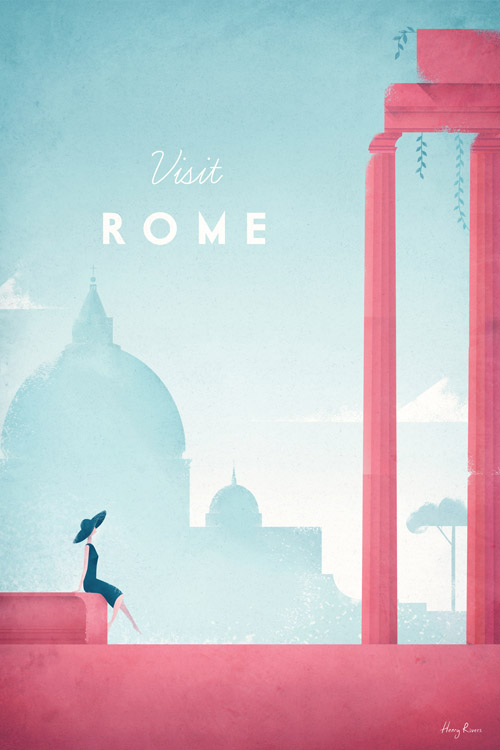 Rome vintage travel poster - Rome illustration - art print by Henry Rivers