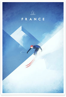 Ski France - French Alps vintage travel poster by artist Henry Rivers of Travel Poster Co.