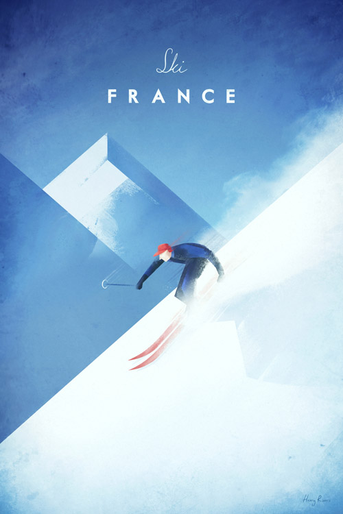 Vintage ski travel poster French Alps - Ski France illustration - art print by Henry Rivers