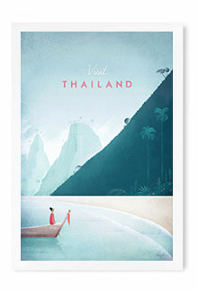 Thailand vintage travel poster by artist Henry Rivers of Travel Poster Co.