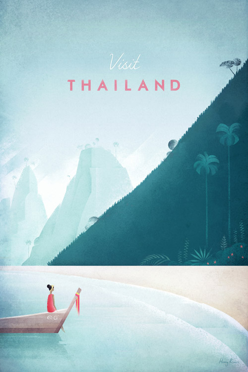 Thailand vintage travel poster - Thailand illustration - art print by Henry Rivers