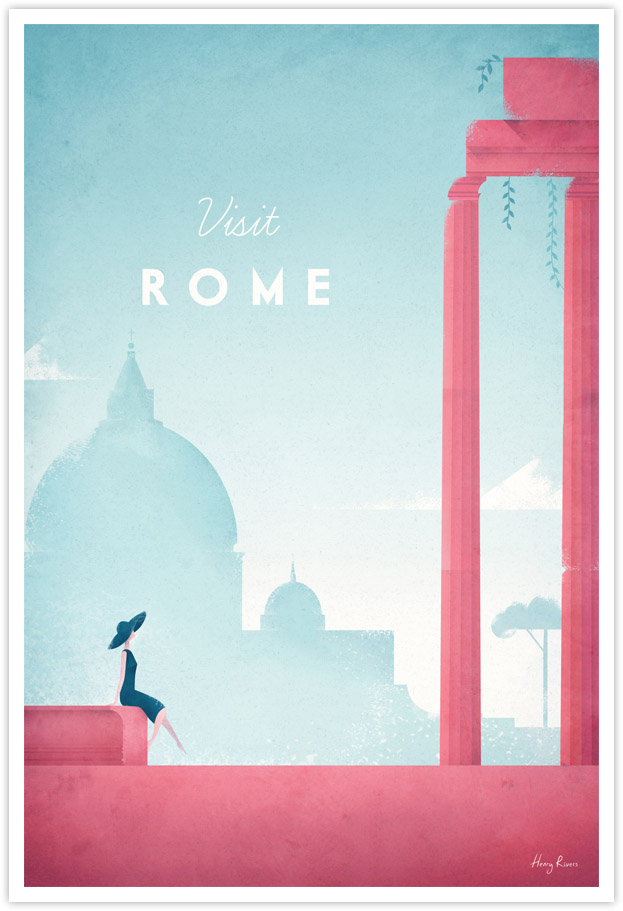 Vintage travel poster of Rome, Italy by Henry Rivers / Travel Poster Co.