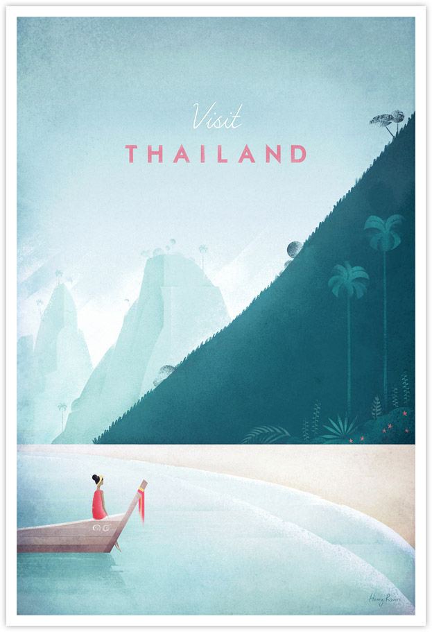 Vintage travel poster of Thailand by Henry Rivers / Travel Poster Co.