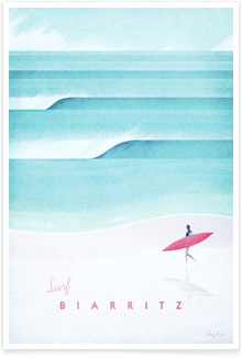 Biarritz vintage travel poster by artist Henry Rivers of Travel Poster Co.