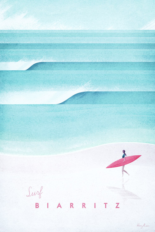 Biarritz Vintage Surf Poster - Artwork by Henry Rivers / Travel Poster Co.