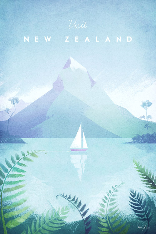 New Zealand Vintage Travel Poster - Artwork by Henry Rivers / Travel Poster Co.