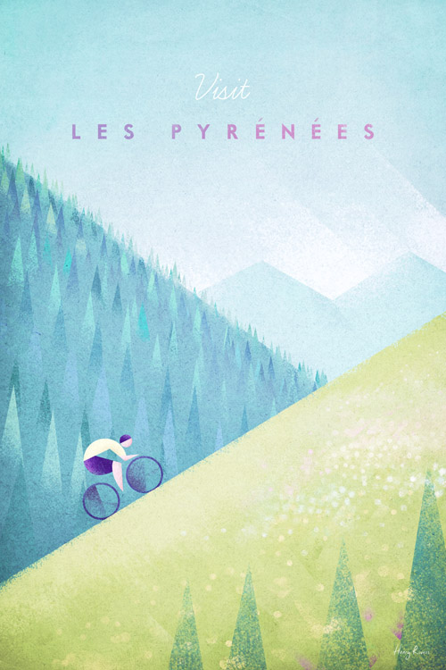 Pyrenees Tour de France Cycling Poster - Artwork by Henry Rivers / Travel Poster Co.