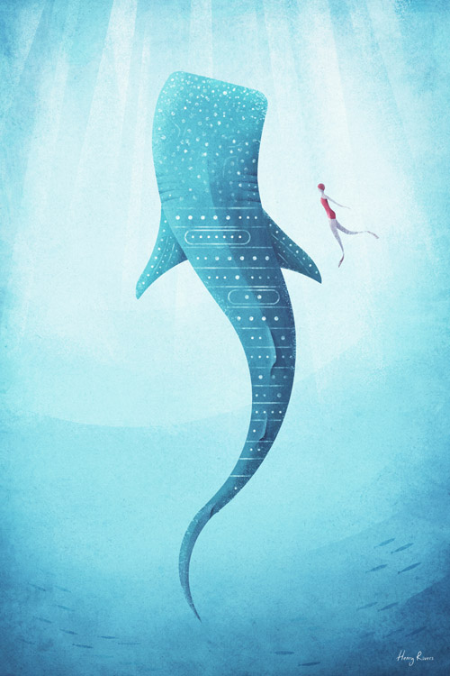 Whale Shark Poster - Artwork by Henry Rivers / Travel Poster Co.