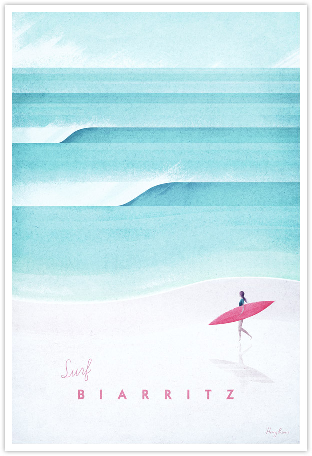 Biarritz Vintage Surf Travel Poster - Surfing Art Print by Henry Rivers / Travel Poster Co.