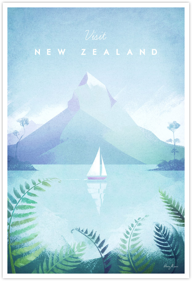 New Zealand Vintage Travel Poster - New Zealand Art Print by Henry Rivers / Travel Poster Co.