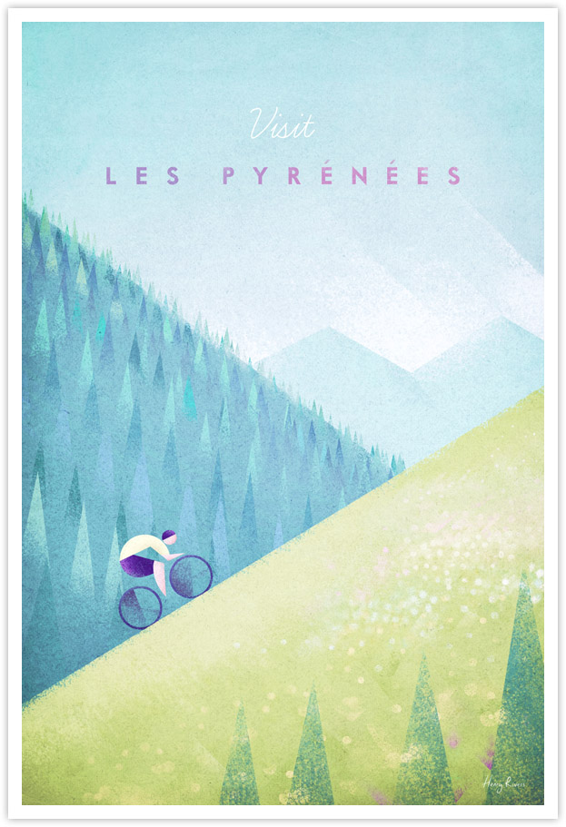 Pyrenees Cycling Vintage Travel Poster - Tour de France Cycling Art Print by Henry Rivers / Travel Poster Co.