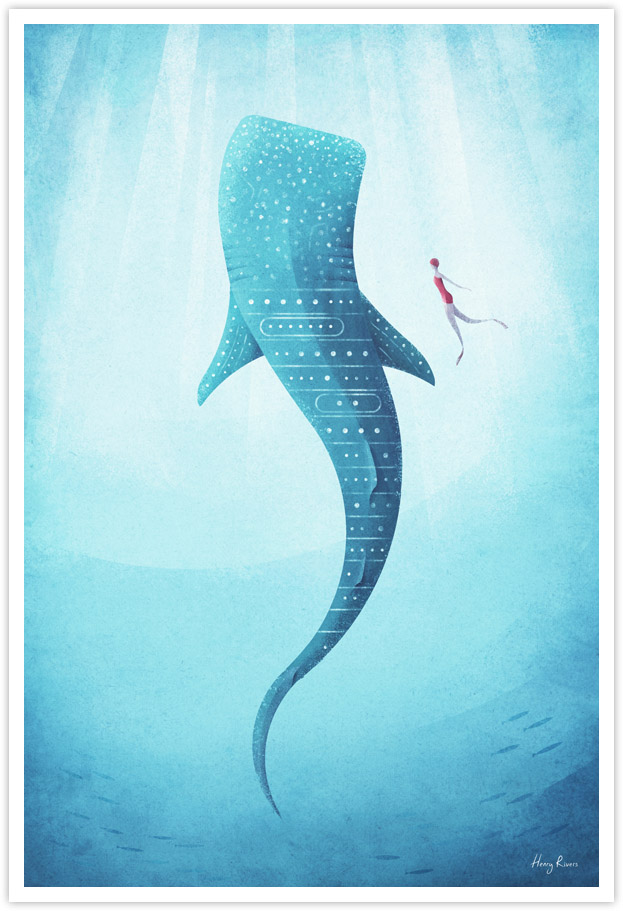 Whale Shark Illustration Poster - Whale Shark Art Print by Henry Rivers / Travel Poster Co.