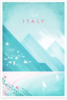 Italy - vintage travel poster by artist Henry Rivers of Travel Poster Co.