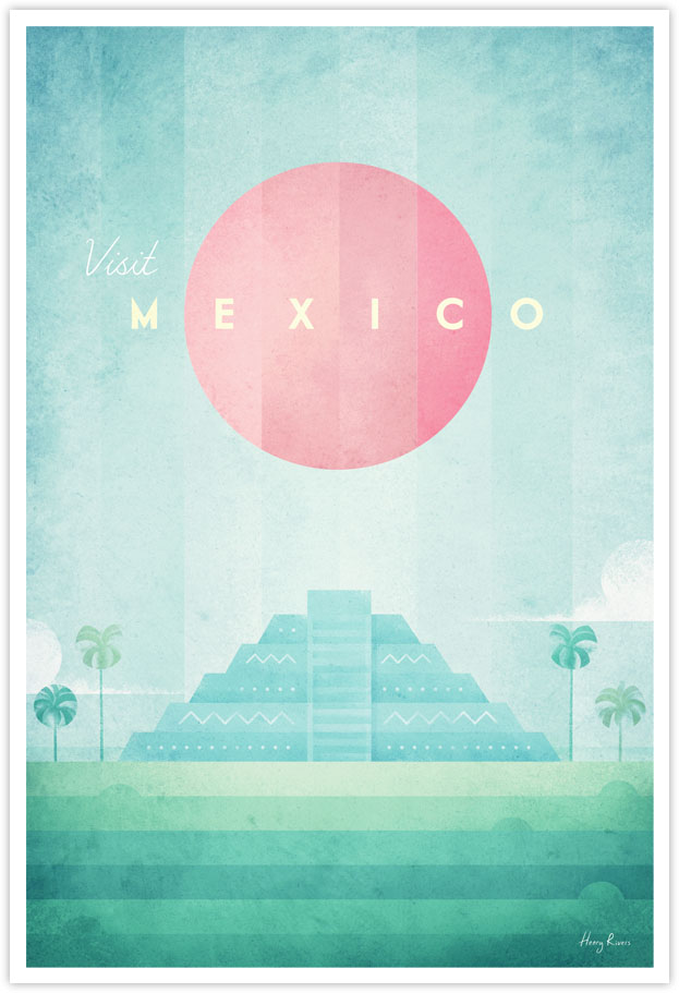 mexico vintage travel poster by Henry Rivers - mexican rainforest colorful minimalist poster illustration