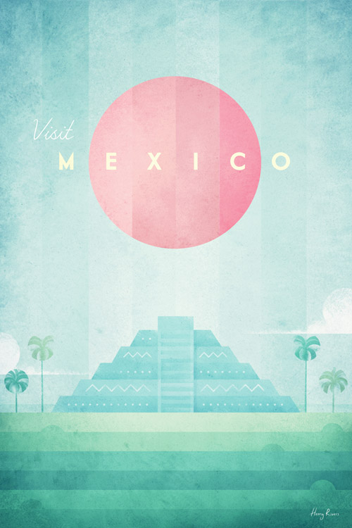 Mexico travel poster by Henry Rivers - aztec design, tropical art print, green pink vintage poster