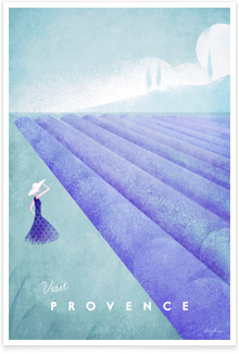 Provence vintage travel poster by artist Henry Rivers of Travel Poster Co.