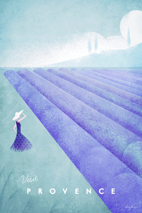 Lavender fields illustration - Provence, France vintage travel poster artwork by Henry Rivers - minimalist design