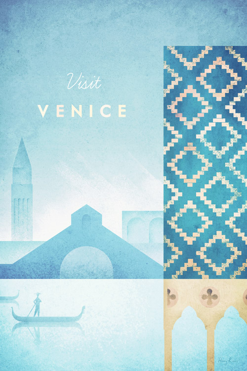 vintage travel poster artwork of venice, italy - art print poster by Henry Rivers