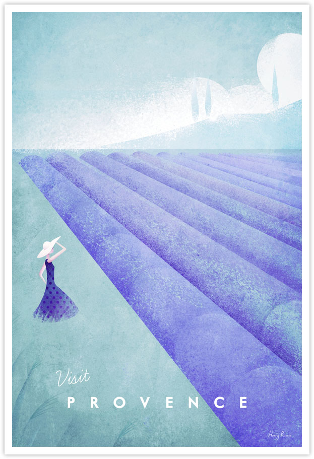 Provence vintage travel poster by Henry Rivers - Provence, France minimalist poster illustration