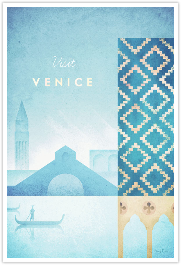 Venice vintage travel poster by Henry Rivers - Venice, Italy minimalist poster illustration