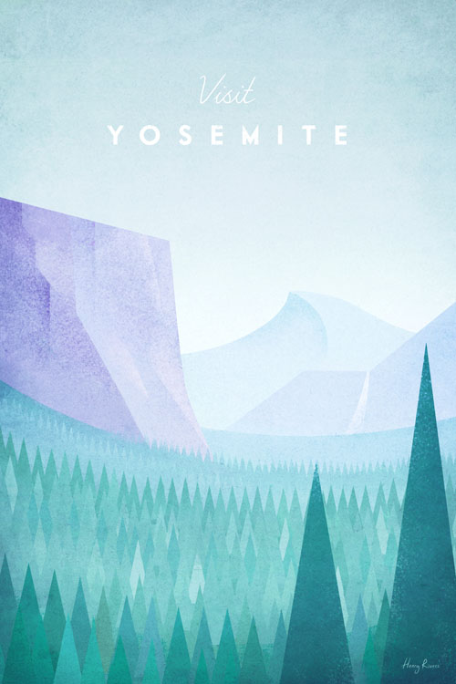 Yosemite National Park travel poster by Henry Rivers - Tunnel view Yosemite valley.