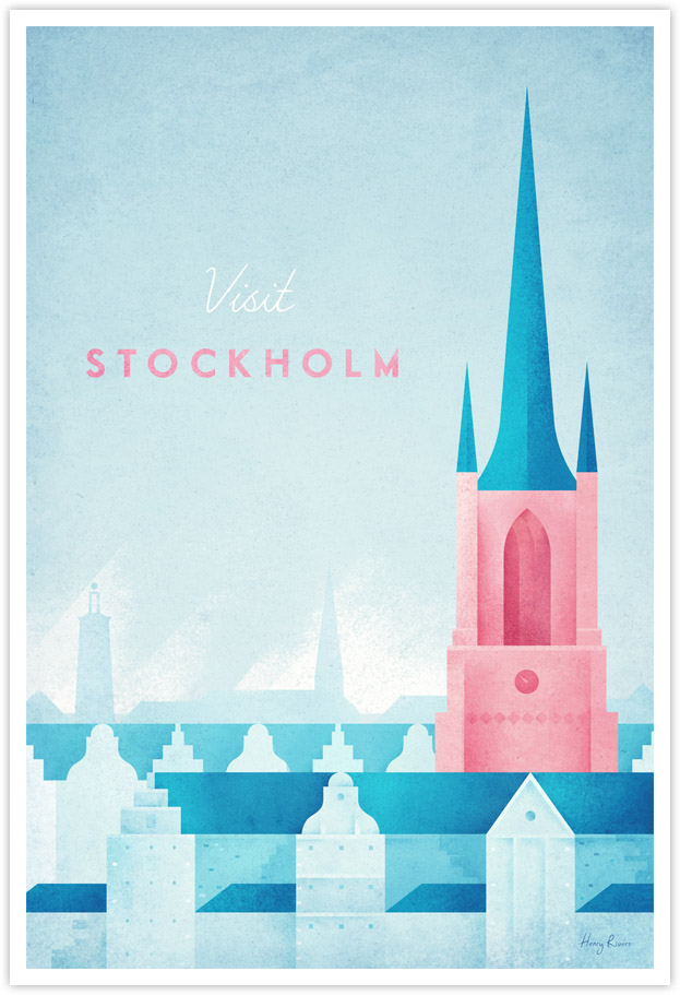 Stockholm vintage travel poster by Henry Rivers - Stockholm, Sweden minimalist poster illustration