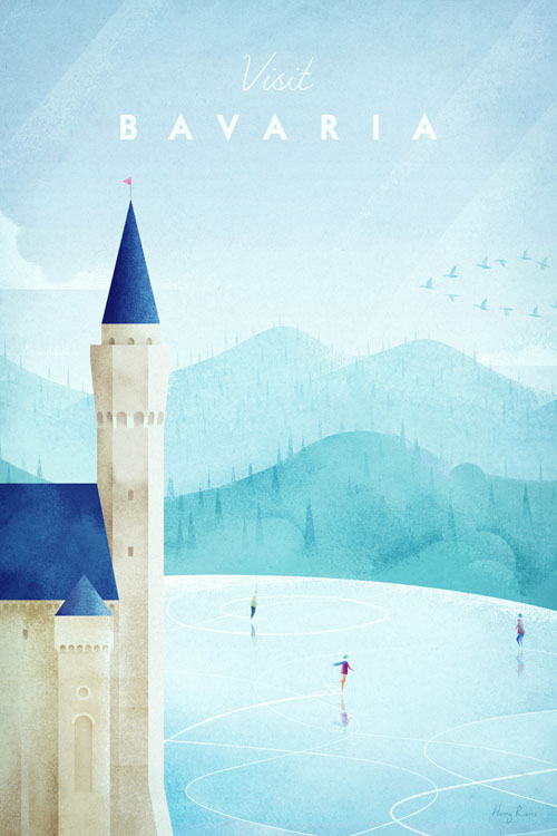 Bavaria Travel Poster of Neuschwanstein castle - Minimalist Poster Art by artist Henry Rivers. - German castle illustration art print