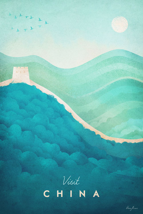 China Travel Poster of the Great Wall - Minimalist Poster Art by artist Henry Rivers. - China hills illustration