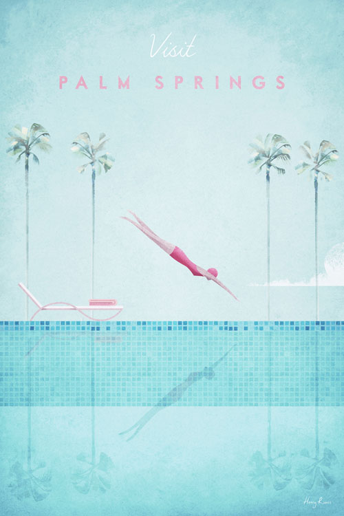 Palm Springs Travel Poster - Minimalist Poster Art by artist Henry Rivers. - Girl diving illustration with palm trees and swimming pool