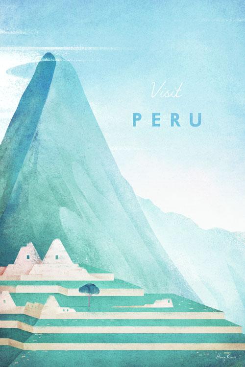 Machu Picchu, Peru Travel Poster - Minimalist Poster Art by artist Henry Rivers. - Peru illustration