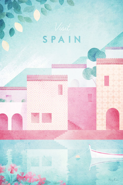 Spain Costal Village Travel Poster - Minimalist Poster Art by artist Henry Rivers. - illustration of Spanish fishing village