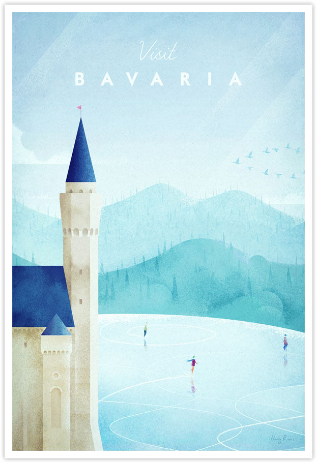 Bavaria Travel Poster - Art Print by Henry Rivers / Travel Poster Co. - Neuschwanstein, Bavaria - castle illustration with ice skating lake