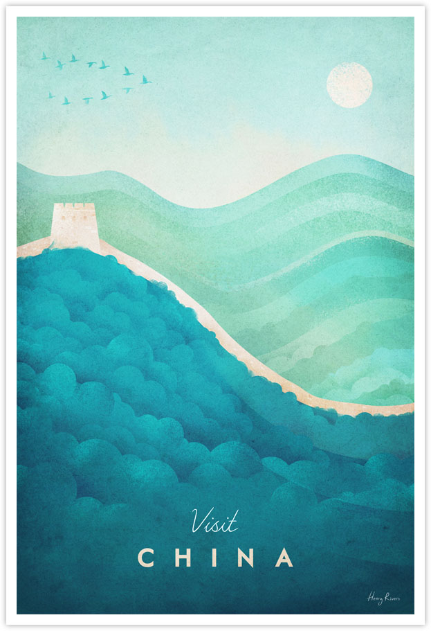 Great Wall of China Travel Poster - Poster Art Print by illustrator Henry Rivers for Travel Poster Co. - China minimal illustration