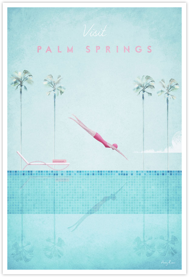Palm Springs Travel Poster - Poster Art Print by illustrator Henry Rivers for Travel Poster Co. - Girl diving illustration with palm trees