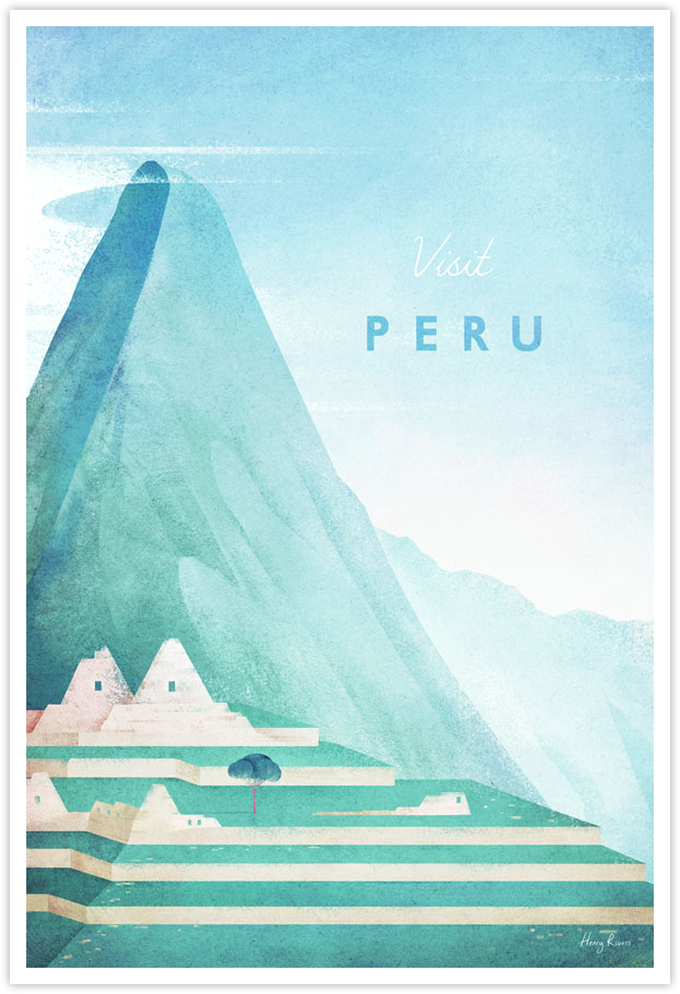 Peru Travel Poster - Art Print by Henry Rivers / Travel Poster Co. - Peru machu picchu illustration