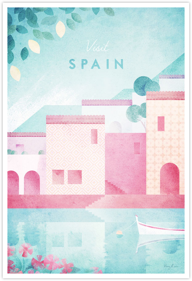 Spain Travel Poster - Art Print by Henry Rivers / Travel Poster Co. - Spanish fishing village illustration with lemons, sea boat.