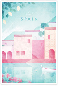 Spain - vintage travel poster by artist Henry Rivers of Travel Poster Co.