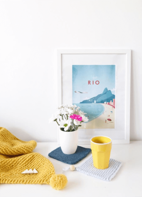 Rio art print in white frame. Artist Henry Rivers.