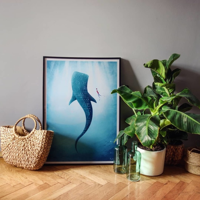 Whale Shark illustration by Henry Rivers in black frame.