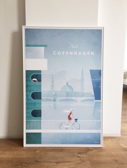 Copenhagen travel poster in white frame. Illustration by Henry Rivers.