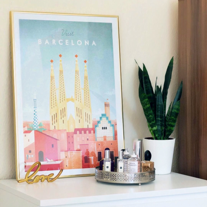 Barcelona art print in gold frame. Artwork by illustrator Henry Rivers. Modern barcelona travel poster.