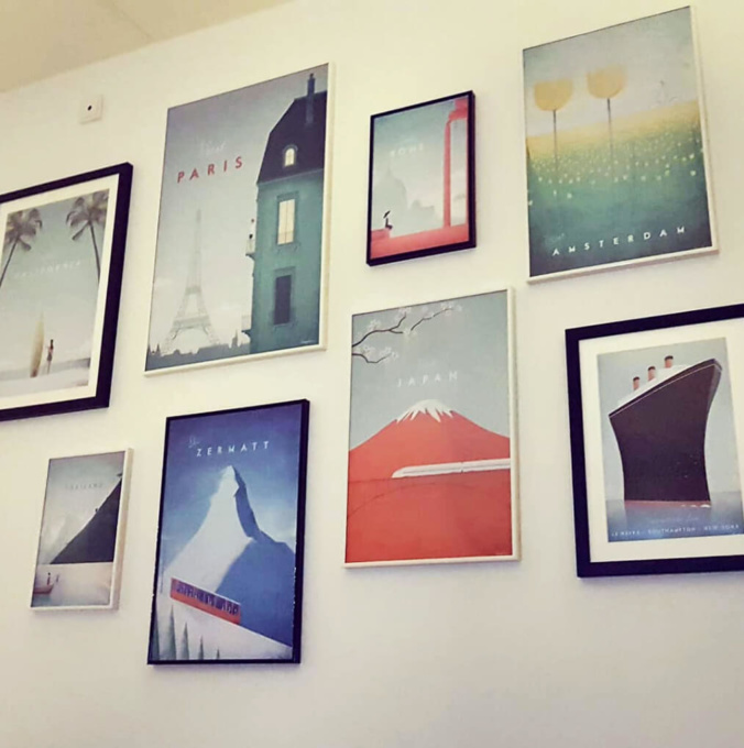 modern travel posters gallery wall. artworks by Henry Rivers