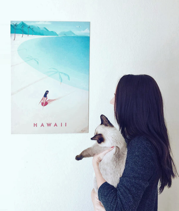 Henry Rivers - hawaii travel poster illustration on a wall