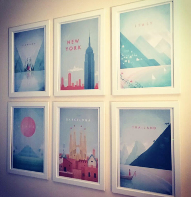 collection of travel poster by Henry Rivers - new york, italy, mexico, canada, barcelona and thailand