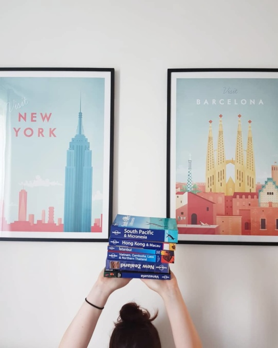 new york and barcelona travel poster wall art