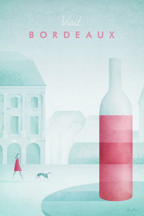 Bordeaux, France Travel Poster - Minimalist Poster Art by artist Henry Rivers. - vintage style illustration of Bordeaux by British artist Henry Rivers. Bordeaux's skyline and a bottle of red wine.