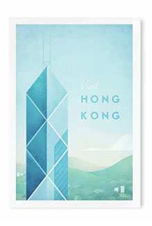 Hong Kong Vintage Travel Poster Art by Henry Rivers